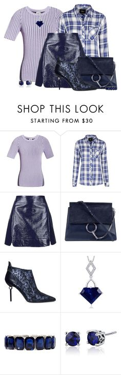 """""""Lavender and Navy"""" by jakenpink ❤ liked on Polyvore featuring Opening Ceremony, Rails, Topshop, Chloé, Roger Vivier, Oravo and Monet"""