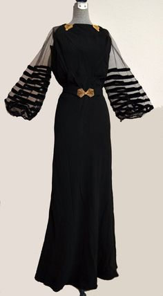 vintage evening dresses from the 1930's   1930s Black Crepe Evening Dress