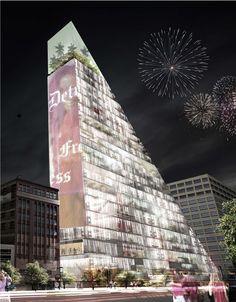 redesigning detroit: a new landmark by rossetti   metrogramma