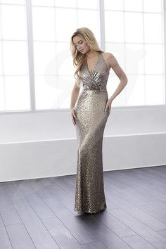 Christina Wu Celebrations Bridesmaid Dress - A startling, all-over sequin dress with a full-length, sheath silhouette and attractive v-neck halter neckline. The straps loosely flow down the back to form a slim keyhole back. Pictured in: Bronze. Bridesmaid Dress Styles, Bridal Dresses, Bridesmaids, Sparkly Dresses, Sequin Bridesmaid, Bridesmaid Ideas, Skirt Fashion, Fashion Dresses, Women's Fashion