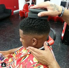 """Recently, a buzz has been generated surrounding a new tool appropriately called, """"The Curl Sponge."""" Use of the sponge as directed promotes springy, coily curls. In the video above, you can see the … Black Man Haircut Fade, Black Men Haircuts, Black Men Hairstyles, Fade Haircut, Men's Haircuts, Short Afro Hairstyles, Little Boy Hairstyles, Twist Hairstyles, Men's Hairstyle"""