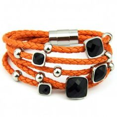 Five Layer Orange Weave Wrap Leather and Titanium Steel Square Bracelet