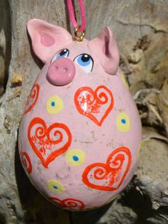 Pig Gourd Ornament pink with floral designs Pick by Gourdament