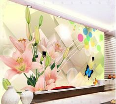 New large wallpaper Custom wallpaper 3D TV backdrop of bright flowers mural wall paper papel de parede wall stickers201530 KITCH