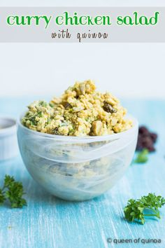 Healthy Curry Chicken Salad - it's dairy-free, healthy and perfect on top of sandwiches or salads!