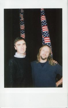 Raf Simons and Sterling Ruby with their American Flag set, at Raf Simons X Sterling Ruby AW14. More images here: http://www.dazeddigital.com/fashion/article/18707/1/beyond-the-catwalks-of-menswear