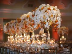 Tablescapes: Tall Crystal Vases with White Orchids Orange Tulips Wedding Table Settings, Wedding Table Centerpieces, Wedding Reception Decorations, Floral Centerpieces, Wedding Ideas, Reception Ideas, Wedding Inspiration, Party Tables, Orange Wedding Flowers
