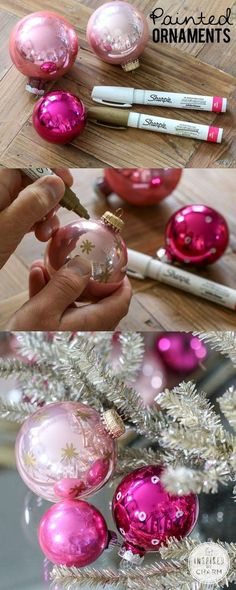 Diy Crafts Ideas : DIY Painted Ornaments Christmas Craft