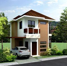 Model de casa ingusta si mica cu garaj si balcoane