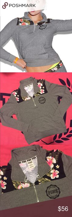 VS PINK FLORAL QUARTER ZIP NEW LAST ONE PRICE IS FIRM, THE PRICE LISTED IS THE ONLY PRICE I WILL ACCEPT UNLESS BUNDLED.  SIZE: LARGE (LAST ONE) VS PINK NEW WITH TAGS/NEW IN PLASTIC SHIP MONDAY-SAT SAME OR NEXT DAY SEE PROFILE FOR ADDITIONAL INFO THANKS  CAITLIN AKA C.VS.PINK PINK Victoria's Secret Tops Sweatshirts & Hoodies