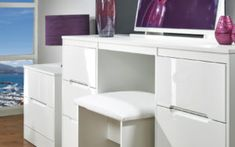 Large White Dressing Table With Drawers
