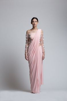Blush Off-Shoulder Concept Sari- Concept sari with an embroidered blouse and a pre-stitched skirt sari drape.- The Ivory Blossoms : hand-embroidery with sequins, florets. pearls and silver crystals - Drape Sarees, Saree Draping Styles, Saree Styles, Saree Gown, Satin Saree, Lehenga Saree, Outfit Essentials, Indian Wedding Outfits, Indian Outfits
