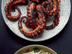 Grilled Octopus with Ancho Chile Sauce | Get Food & Wine's Grilled Octopus with Ancho Chile Sauce from star chef Tom Colicchio.