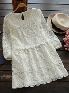 Retro Embroidered Mini Dress - WHITE M Mobile