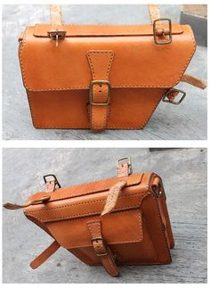 Handmade traditional veg tanned leather bicycle frame bag/ messenger bag honey color. via Etsy.