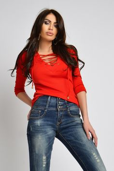 Bluza casual tetra rosie Bln 274 Atmosphere Fashion, Lady In Red, Skinny Jeans, Casual, Pants, Atelier, Madame Red, Skinny Fit Jeans, Trousers