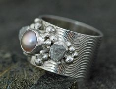 Raw Diamonds and Pink Pearl in Textured Sterling by Specimental, $365.00