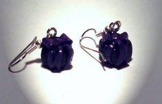 Ohrringe und Ohrstecker im Onlineshop - Verrückte Ohrringe und Schmuck Welt  - Ohrringe Geschenk lila schwarz Edelstahl Ohrhänger handgemacht Neuware
