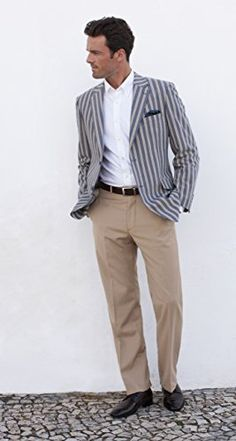 Men's Barbican Blue & Beige Stripe Jacket Avana