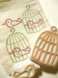 bird and cage hand carved rubber stamp handmade by talktothesun. Etsy