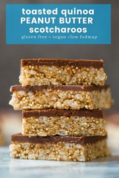 Crispy, toasted quinoa and Peanut Butter Scotcharoos - rice crispy cereal coated in a sticky peanut butter glue and topped with a layer of peanut butter infused chocolate Köstliche Desserts, Healthy Dessert Recipes, Gluten Free Desserts, Delicious Desserts, Quinoa Desserts, Sem Gluten Sem Lactose, Sans Gluten, Vegan Foods, Vegan Snacks