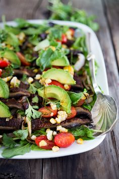 """Grilled Portobello """"Steak"""" Salad with avocado, lime, grilled sweet onions, grilled corn, tomatoes and a Smokey Lime Dressing Barbecue Recipes, Grilling Recipes, Whole Food Recipes, Vegetarian Recipes, Healthy Recipes, Barbecue Sauce, Meal Recipes, Delicious Recipes, Vegetarian Cooking"""