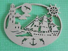 Barca a vela e faro; Traforo su betulla, disegno Steve D Good. Nautical Ship and Lighthouse; Scroll Saw  Pattern Steve D Good