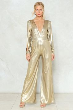 7b5e22c47d39 Dripping in Gold Metallic Jumpsuit
