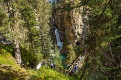 The best time to visit Johnston Canyon in Banff National Park, images, and how to get to the secret rock cave. This is one of the best hikes in Banff! Banff National Park, National Parks, Johnston Canyon Banff, Banff Canada, Best Hikes, Plan Your Trip, Exploring, Hiking, Places