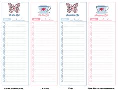 Free Printable Shabby Chic Shopping and To-Do Lists from Vintage Glam Studio