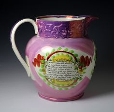 Antique Pink luster Tyneside pottery pitcher with image of the Sunderland Bridge...