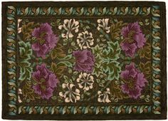 "Hooked rugs: ""William Morris"" designed by Jane McGown Flyn, hooked by Peggy Hannum"
