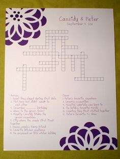 Modern Bloom Custom Crossword Puzzle by KreativeCupcake via Etsy  such a cute idea! :)