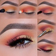 How to Apply an Eyeshadow – Step by Step Tutorial makeup geek eyeshadows in peach smoothie, chickadee, poppy, bitten&yellow brick road - Das schönste Make-up Eye Makeup Steps, Smokey Eye Makeup, Skin Makeup, Eyeshadow Makeup, Beauty Makeup, Orange Eyeshadow, Makeup Brushes, Makeup Style, Smoky Eye