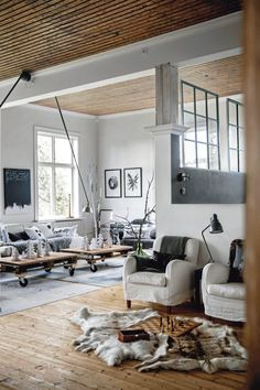 black white + wood interior.
