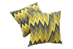 Flame-Stitch Pillows, Yellow and Black Pillows