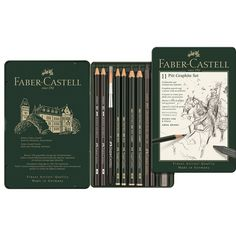 Faber-Castell - Pitt Graphite Pencils - Tin Set for sale online Van Gogh, Faber Castell Pitt, Alice Anime, Drawing Tutorials For Beginners, Artist Supplies, Pencil Writing, Grafik Design, Art Portfolio, Thing 1