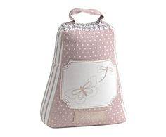 Cale-porte coton, rose et blanc - H25