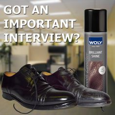 GOT AN IMPORTANT MEETING OR INTERVIEW?    Are your shoes a bit of a mess?    Need a quick shoe shine?    Brilliant Shine by Woly will give you a quick, high shine instantly.    Just spray Brilliant Shine on all your smooth leathers to enjoy an immediate shoe shine with no need to polish.    It's so easy.    So quick and simple.    Magically effective.     You really should have some Brilliant Shine for your shoes.    Just in case.