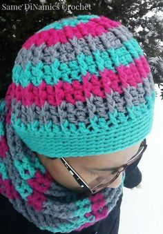 Crochet Beanie Ideas free crochet hat pattern cables and stripes - This free crochet hat pattern can be customized to your unique taste by striping it with as many or as little colors as you'd like. Crochet Adult Hat, Crochet Beanie Hat, Crochet Cap, Beanie Pattern, Crochet Scarves, Crochet Clothes, Crochet Stitches, Knitted Hats, Mittens