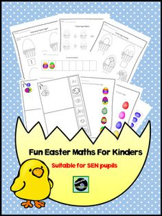 Here are some fun Easter maths worksheets for young learners or pupils with SEN. There are 6 different worksheets which include the following: Big and Small cut and pate x2, colour and black and white versions. Repeating patterns x2 block colour and patterned versions.