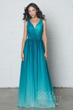 Modern Sheath V-Neck Ombre Chiffon Sleeveless Open Back Dress with Pleating COZF17014 #wedding #bridesmaiddresses #cocomelody #customdresses #ombredresses