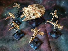 Some of the rebel fleet #ffg #fantasyflight #fantasyflightgames #starwars # xwingrepaints #BFG #lambashuttle