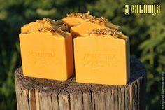 """Купить Натуральное мыло """"Календула и облепиха"""" - оранжевый, календула, мыло с нуля, дельница, облепиха, тюмень"""