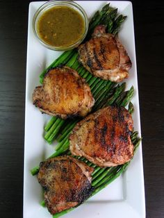 Grilled Chicken with Tangy Yucatecan Spices, Roasted Fresh Chile Salsa, and Asparagus Chicken Spices, Chicken Recipes, Grilled Chicken, Tandoori Chicken, Rick Bayless, Mexican Chicken, Bbq Party, Chicken Fajitas, Asparagus