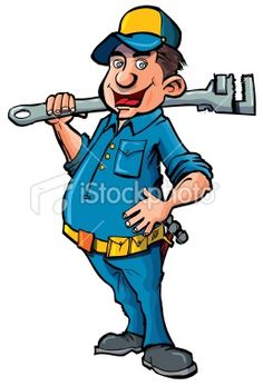Cartoon handyman with a big wrench Royalty Free Stock Vector Art Illustration