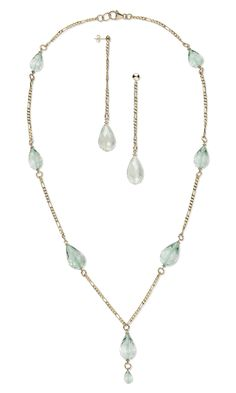Jewelry Design - Single-Strand Necklace and Earring Set with Green Amethyst Gemstone Beads and 14Kt Gold-Filled Chain - Fire Mountain Gems and Beads