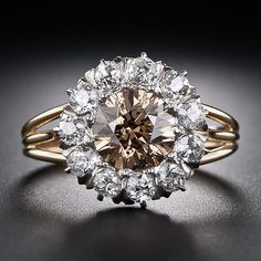 1.50 Carat Natural Brown Diamond Antique Halo Ring
