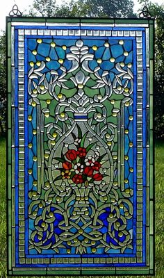 The Enchanted Garden Stained Glass Window large panel Stained Glass Designs, Stained Glass Panels, Stained Glass Projects, Stained Glass Patterns, Leaded Glass, Beveled Glass, Stained Glass Art, Mosaic Glass, Fused Glass