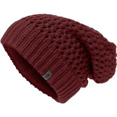 The North Face Reversible Beanie Hat Burgundy Red Grey Warm One Size Pattern